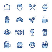 Restaurant  icons set #23 Specification: 16 icons, 36x36 pх, stroke weight 2 px Features: Pixel Perfect, Dichromatic, Single line   First row of icons contains: Chef, Delivery Person, Restaurant (Fork and Spoon), Ice Cream;  Second row contains: French Fries, Croissant, Pizza, Coffee Cup;  Third row contains: Salmon Roll, Crockery, Wineglass, Coffee Paper Cup;  Fourth row contains: Beer Glass, Hamburger, Doughnut, Chinese Take Away Food.  Complete BLUE MICO collection - https://www.istockphoto.com/collaboration/boards/Y8ZYtc2sY0qNQVGRttlncQ