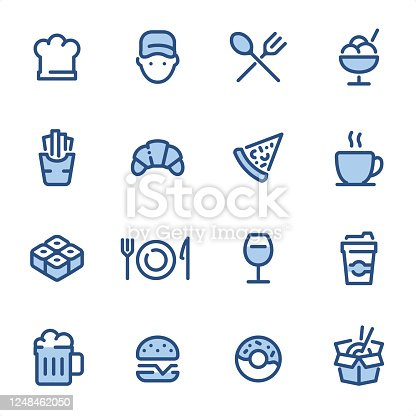 Restaurant  - Pixel Perfect blue line icons