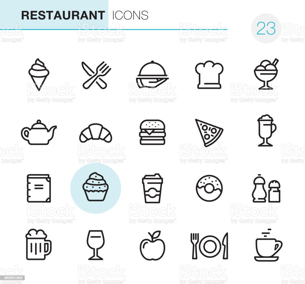 Restaurant - Pixel Perfect icons vector art illustration