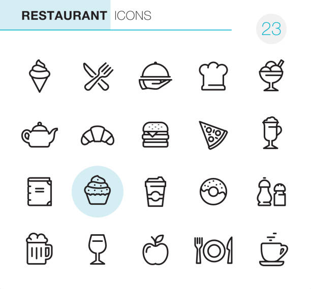 illustrazioni stock, clip art, cartoni animati e icone di tendenza di restaurant - pixel perfect icons - coltello posate