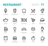 Restaurant - 20 Outline Style - Single line icons with captions / Set #11 Designed in 48x48pх square, outline stroke 2px.  First row of outline icons contains: Ice cream, Coffee to go, Chef, Restaurant, Dessert;  Second row contains: Teapot, Spices, Crockery, Pizza, Serving Tray;  Third row contains: Beer, Wine, Croissant, Donut, Latte;  Fourth row contains: Menu, Hamburger, Cupcake, Apple, Coffee.  Complete Signico collection - https://www.istockphoto.com/collaboration/boards/VT_7sDWo80OLh7foVxchBQ