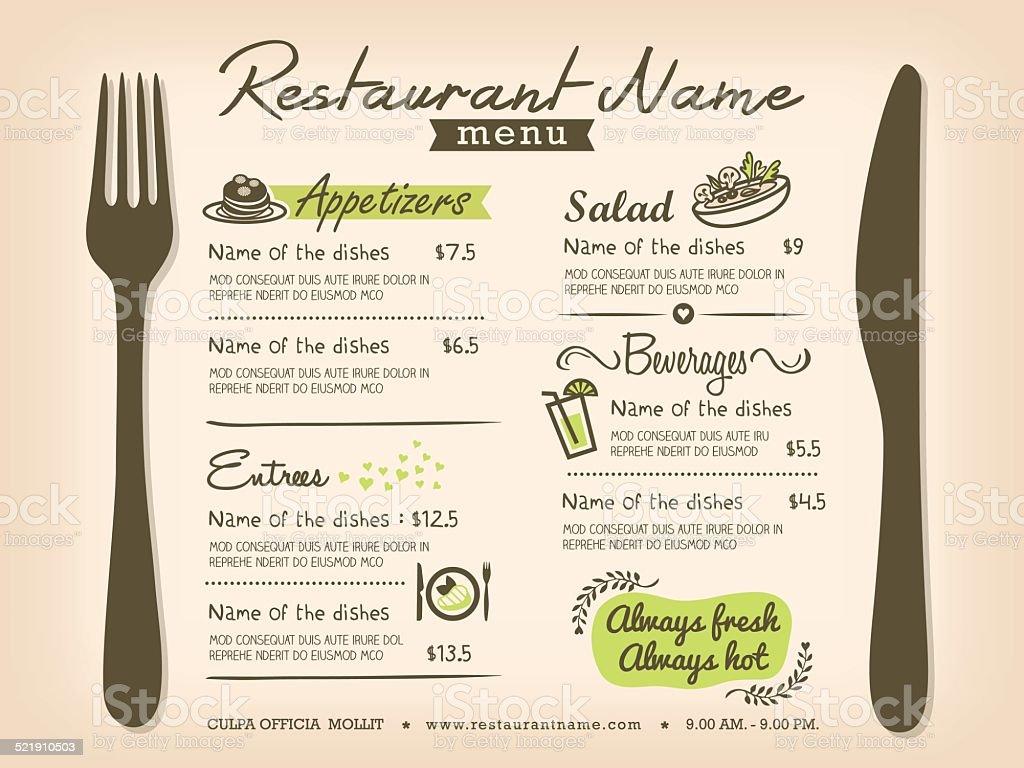 Restaurant Placemat Menu Design Template Layout Stock Illustration