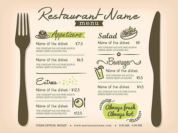 レストランメニューテンプレートデザインレイアウトとテーブル - ランチョンマット点のイラスト素材/クリップアート素材/マンガ素材/アイコン素材