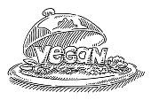Restaurant Plate Vegan Food Text Drawing
