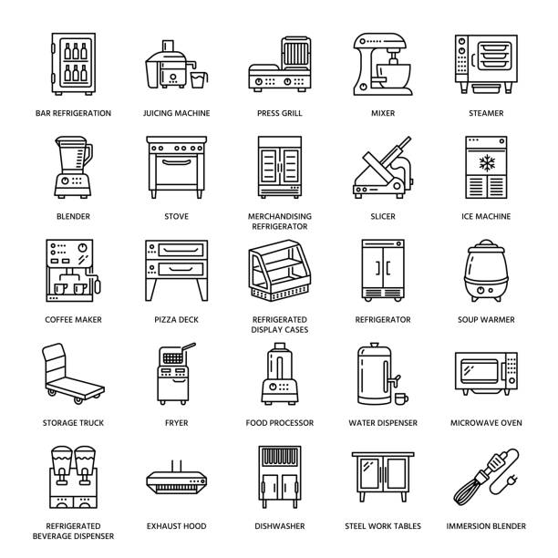 Restaurant professional equipment line icons. Kitchen tools, mixer, blender, fryer, food processor, refrigerator, steamer, microwave oven. Thin linear signs for commercial cooking equipment store Restaurant professional equipment line icons. Kitchen tools, mixer, blender, fryer, food processor, refrigerator, steamer, microwave oven. Thin linear signs for commercial cooking equipment store. oven stock illustrations