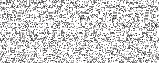 Restaurant Related Seamless Pattern and Background with Line Icons