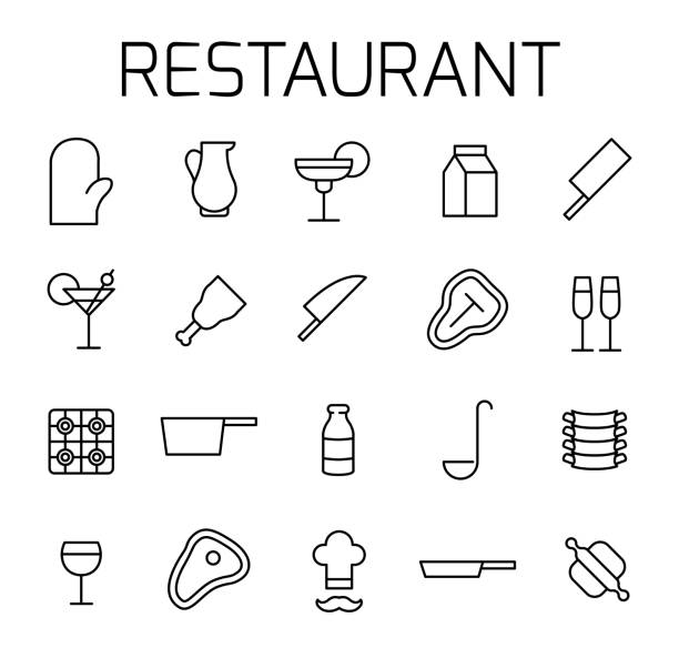 illustrazioni stock, clip art, cartoni animati e icone di tendenza di restaurant related vector icon set. - chef triste
