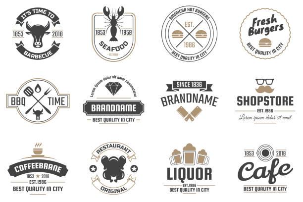 バナーのレストラン レトロ ベクトルのロゴ - レストランのロゴ点のイラスト素材/クリップアート素材/マンガ素材/アイコン素材