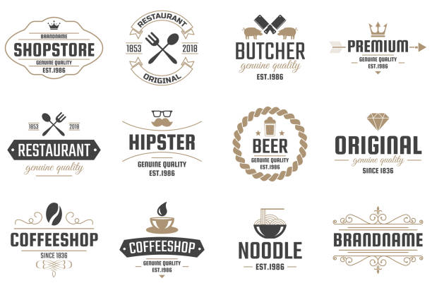 restaurant retro vector logo for banner - restaurant logos stock illustrations, clip art, cartoons, & icons