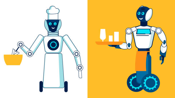 ilustraciones, imágenes clip art, dibujos animados e iconos de stock de restaurante robótica del personal de la ilustración plana - busy restaurant kitchen