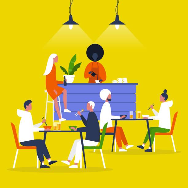 scena restauracjna, postacie jedzące lunch przy stołach i przy kasie barowej - bar lokal gastronomiczny stock illustrations