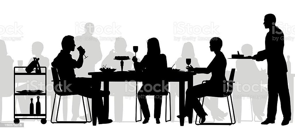 Restaurant scene vector art illustration