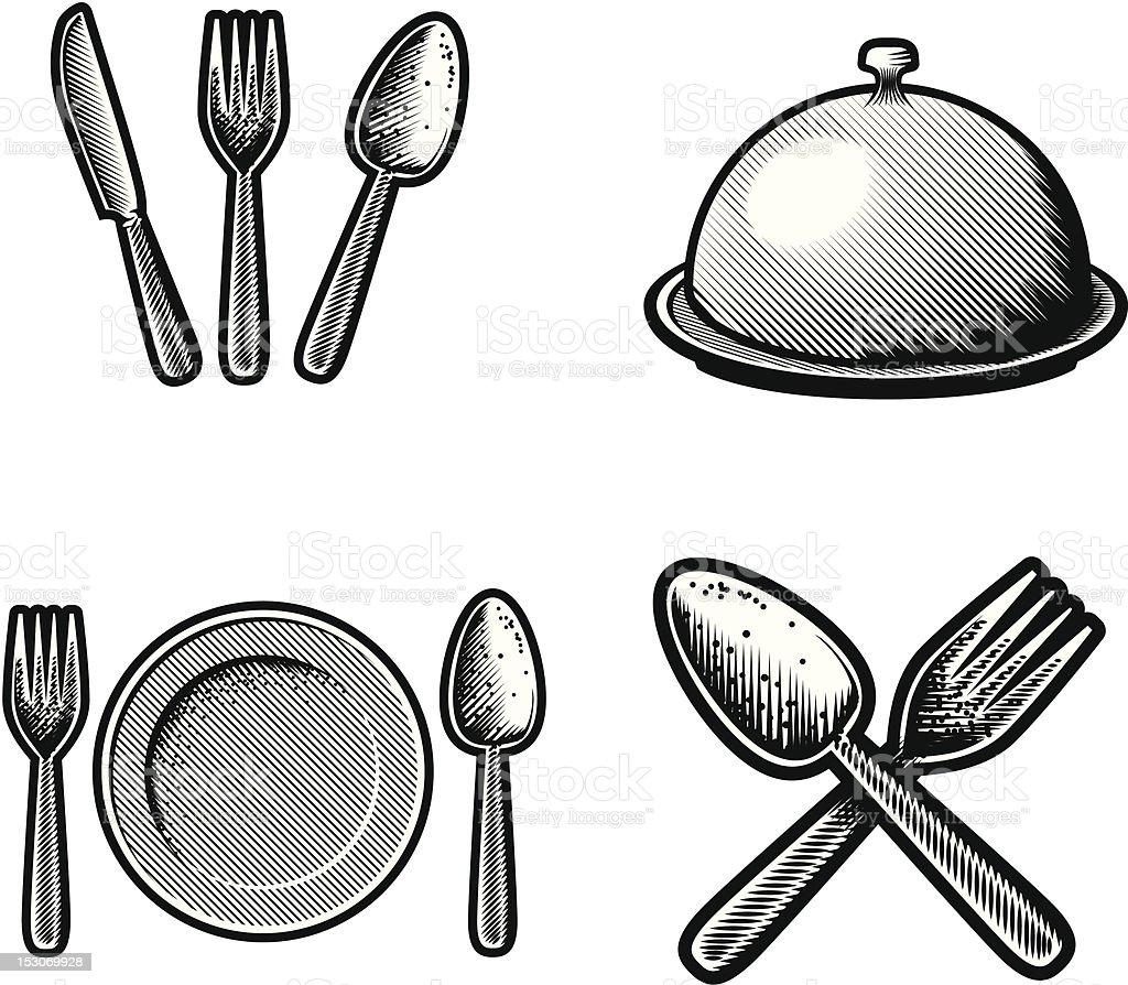 Restaurante iconos de papel para dibujar arte vectorial for Papel para dibujar