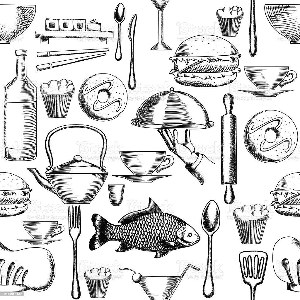 Restaurant Seamless Pattern 1 vector art illustration