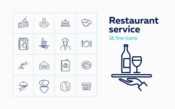 restaurant-service-symbole - nahrungsmittelindustrie stock-grafiken, -clipart, -cartoons und -symbole