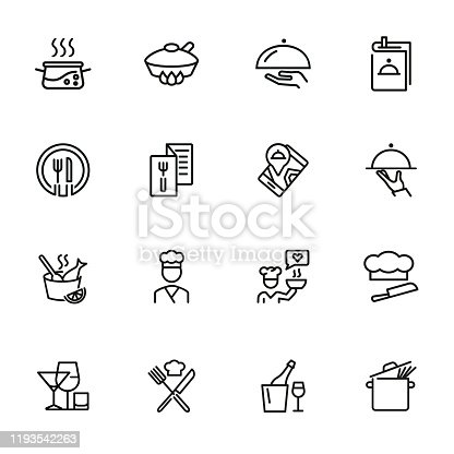 Restaurant service line icon set. Set of line icons on white background. Menu, stewpan, plate, chef. Food concept. Vector illustration can be used for topics like eating, drinking, resting