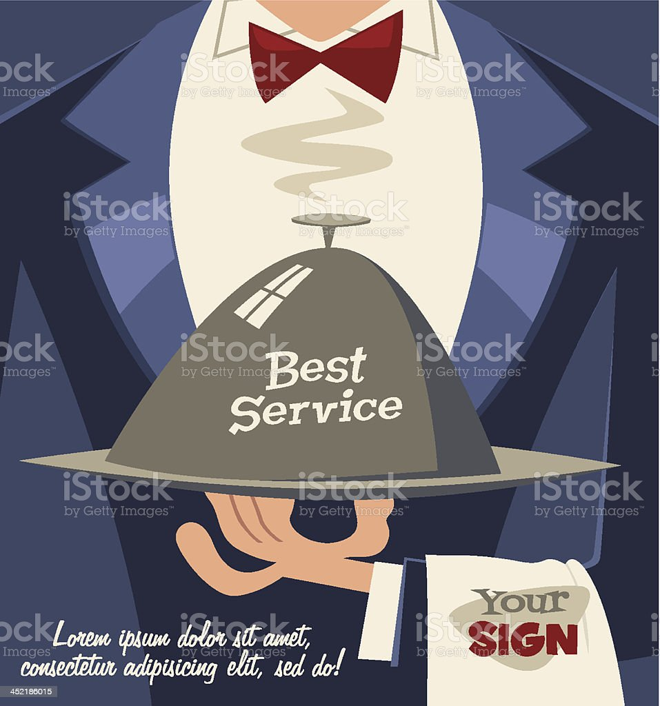 Restaurant service. Retro background vector art illustration