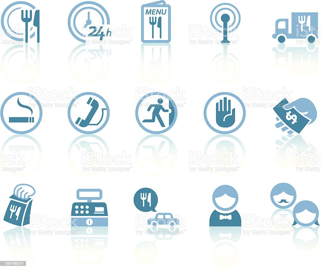 Restaurant Services Icons | Simple Blue Series vector art illustration