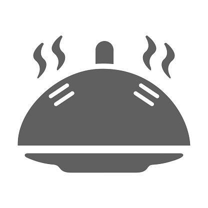 Restaurant, serving icon. Simple gray vector on isolated white background