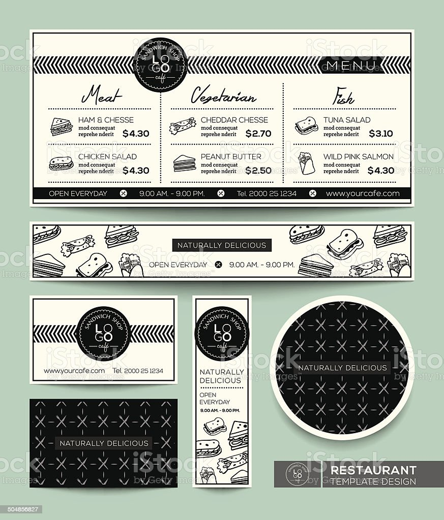 レストランメニューのサンドイッチグラフィックデザインテンプレート