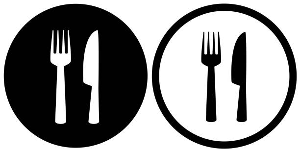 restaurant sign with fork and knife simple restaurant or cafe icons with plate, fork and knife silhouettes kitchen knife stock illustrations