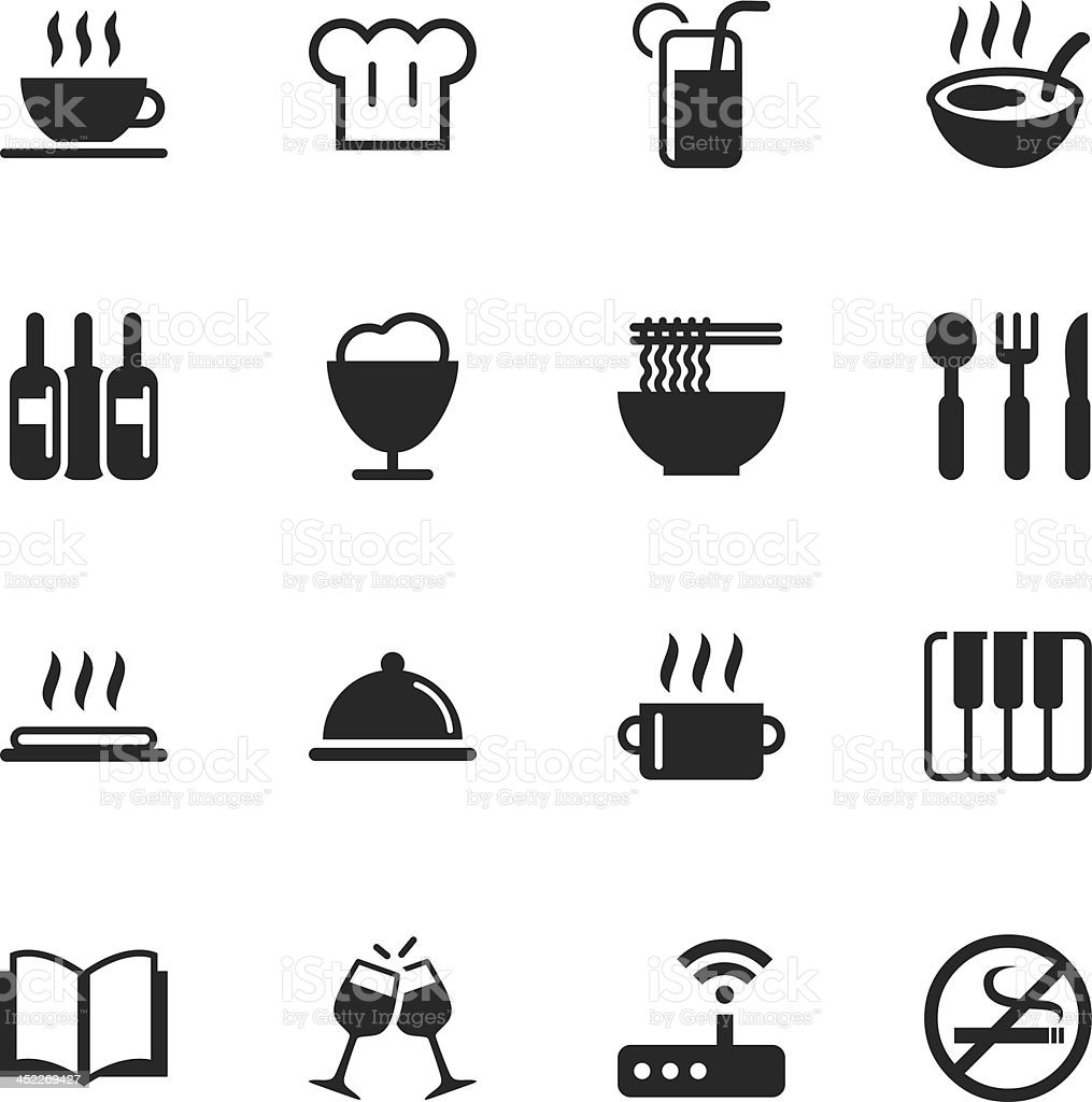 Restaurant Silhouette Icons | Set 2 vector art illustration