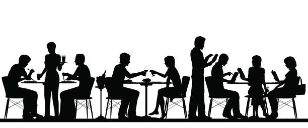 Restaurant silhouette vector art illustration