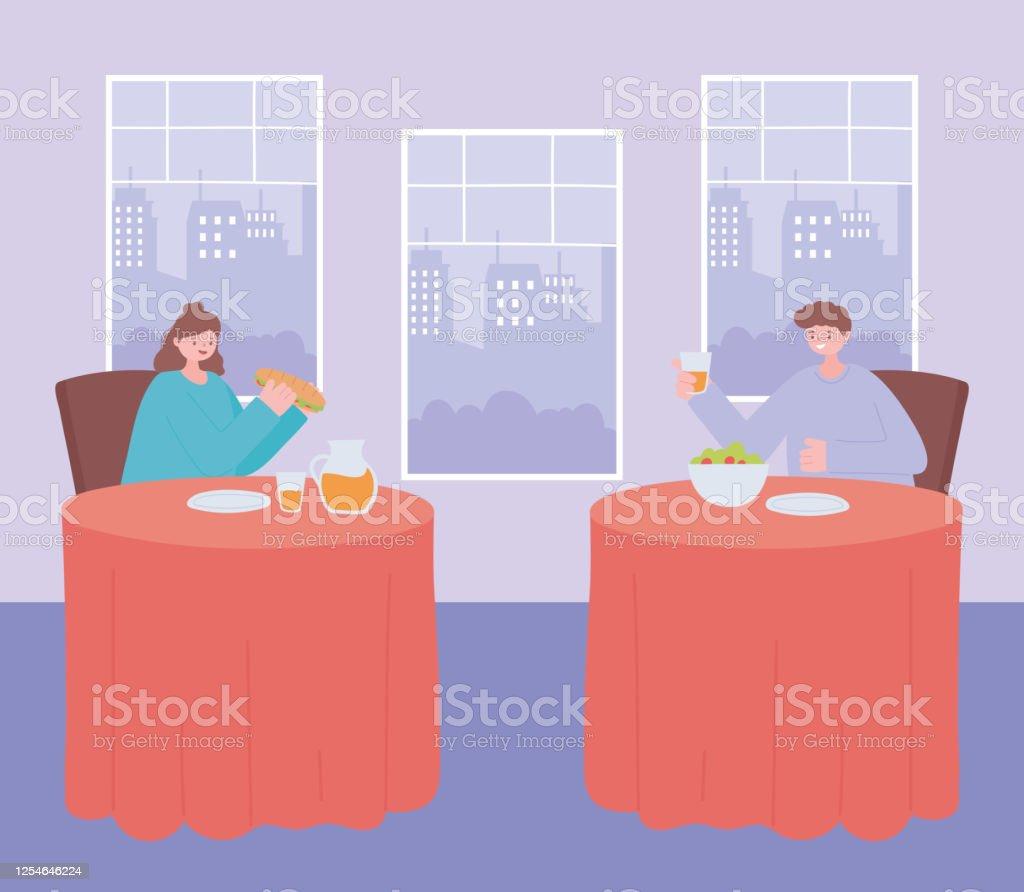 Restaurant Soziale Entfernung Menschen Essen Essen Allein An Tischen Covid 19 Pandemie Prävention Von Coronavirusinfektion Stock Vektor Art und mehr