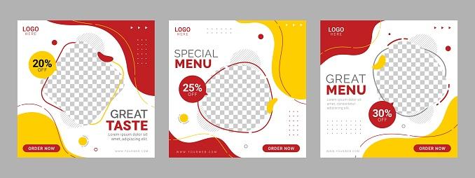 Restaurant social media square banner template food