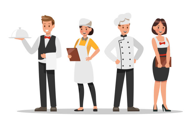 restaurant staff characters design. include chef, assistants, manager , waitress . professionals team. - woman cooking stock illustrations