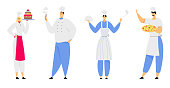 Restaurant Staff Characters in Uniform Demonstrating Menu, Cafe, Pizzeria, Bakery Shop, Hospitality, Young Man and Woman Chef in Toque and Apron Holding Pizza, Cake Cartoon Flat Vector Illustration