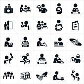 A set of icons showing different staff that work in a restaurant. The icons include a receptionist, waiter or waitress, a doorman, a server, cook, chef, checker, person washing dishes and a delivery man to name just a few.