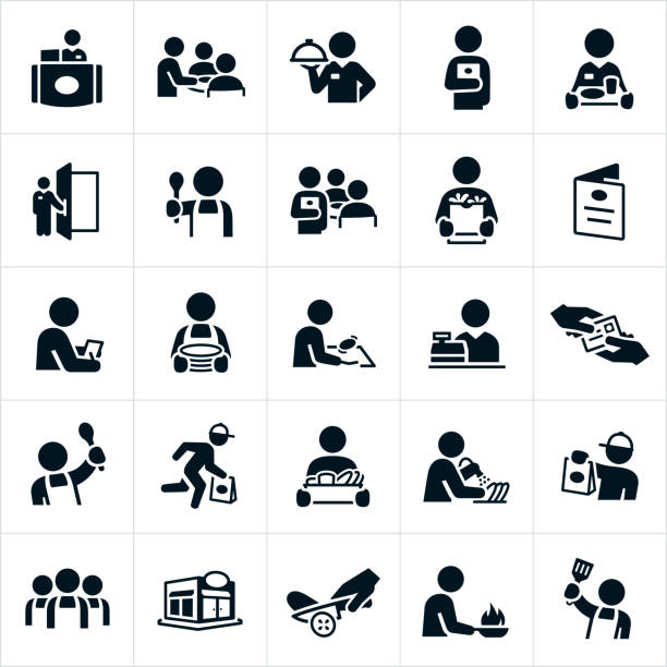 Restaurant Staff Icons A set of icons showing different staff that work in a restaurant. The icons include a receptionist, waiter or waitress, a doorman, a server, cook, chef, checker, person washing dishes and a delivery man to name just a few. cooking symbols stock illustrations