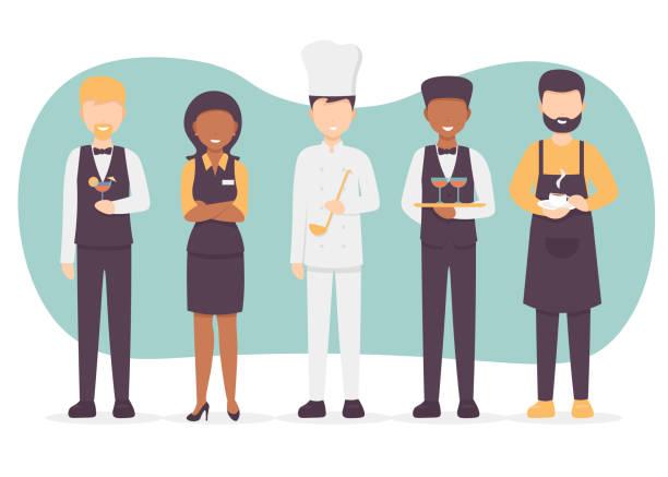 restaurantpersonal set - nahrungsmittelindustrie stock-grafiken, -clipart, -cartoons und -symbole