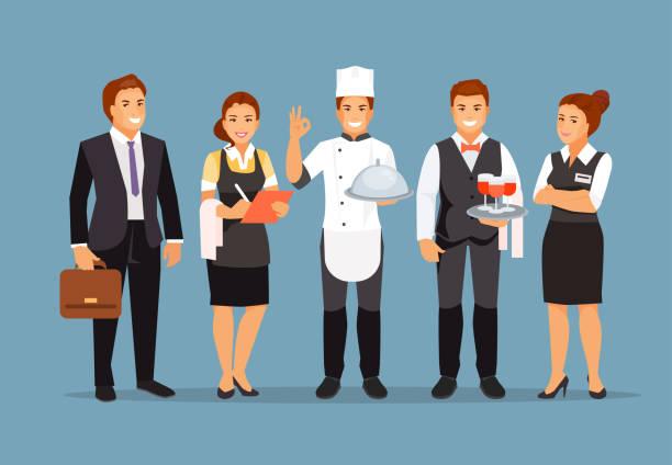 illustrazioni stock, clip art, cartoni animati e icone di tendenza di restaurant staff vector - organizzatore della festa