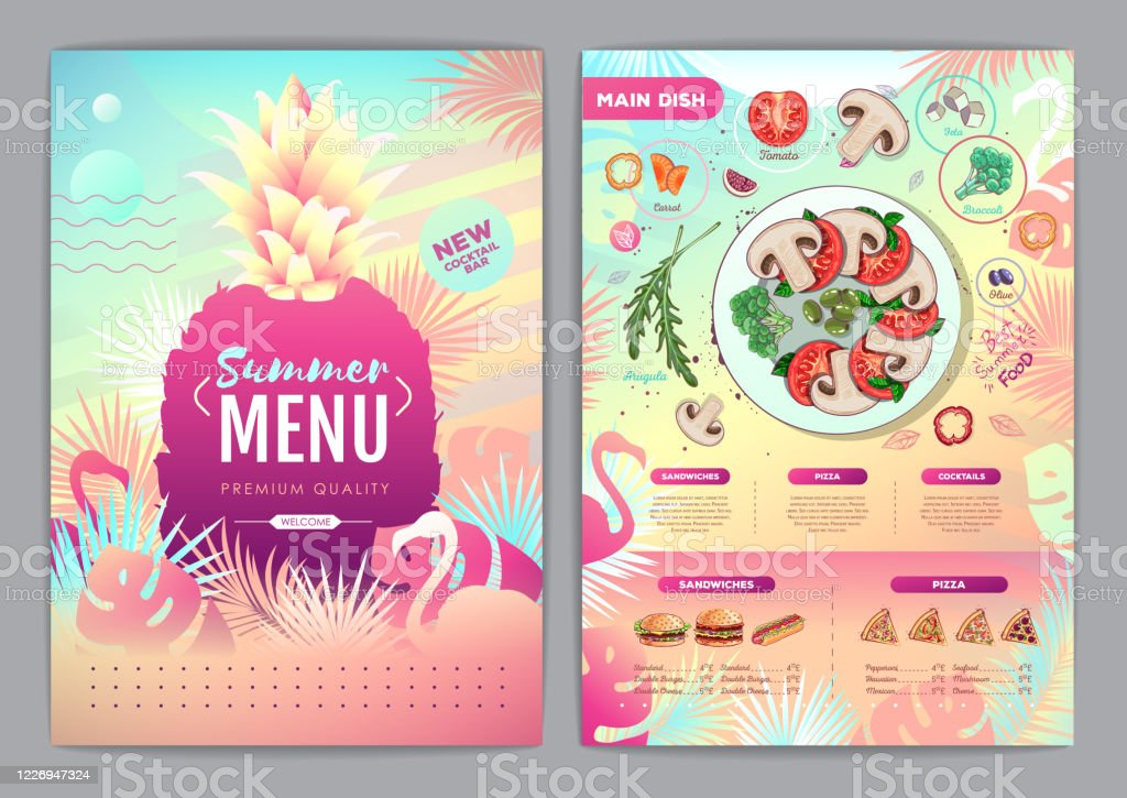 Restaurant Summer Tropical Gradient Menu Design With Fluorescent Tropic Leaves And Flamingo Fast Food Menu Stock Illustration Download Image Now Istock