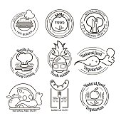 Restaurant symbols and emblems set. Hand drawn symbols premium collection. BBQ and vegetarian vector set.