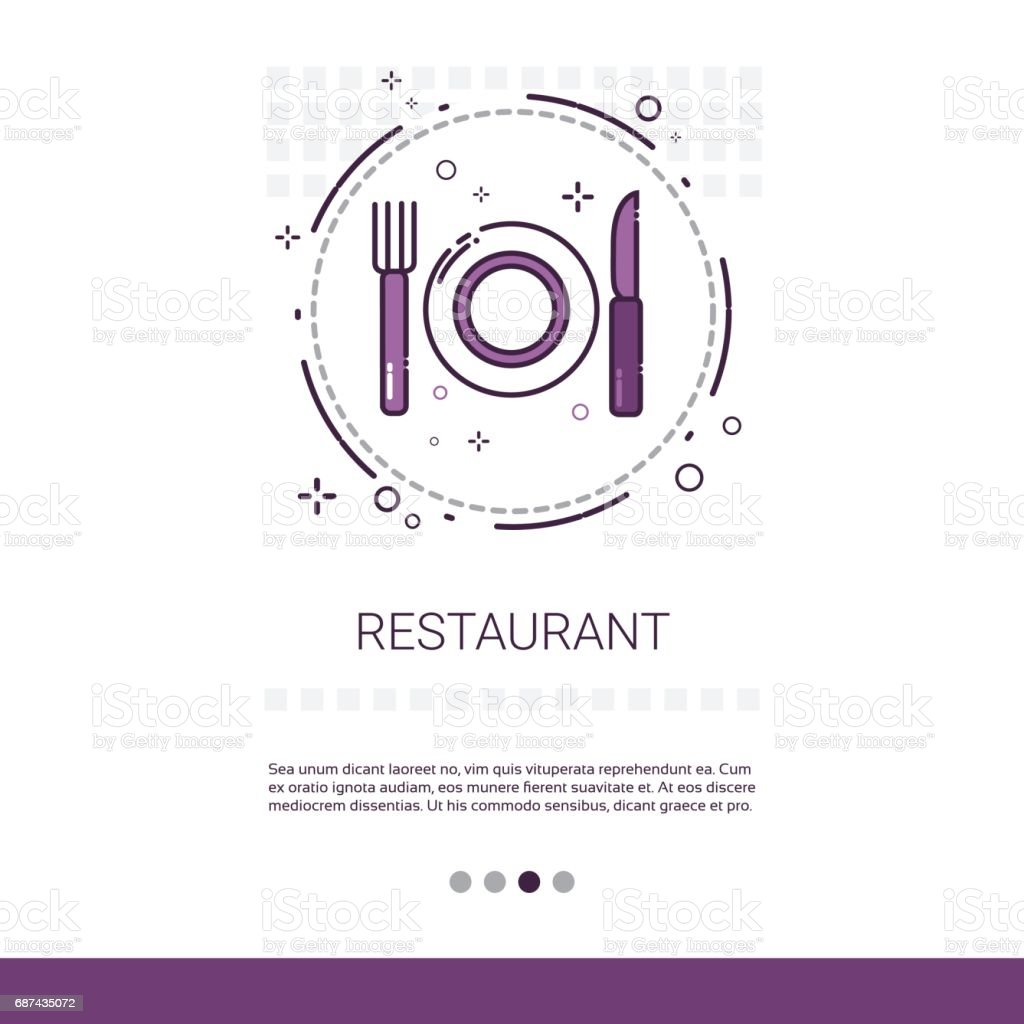 Restaurant Table Dish Food Service Banner With Copy Space vector art illustration