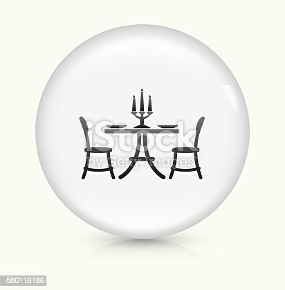 Restaurant Table Icon on simple white round button. This 100% royalty free vector button is circular in shape and the icon is the primary subject of the composition. There is a slight reflection visible at the bottom.
