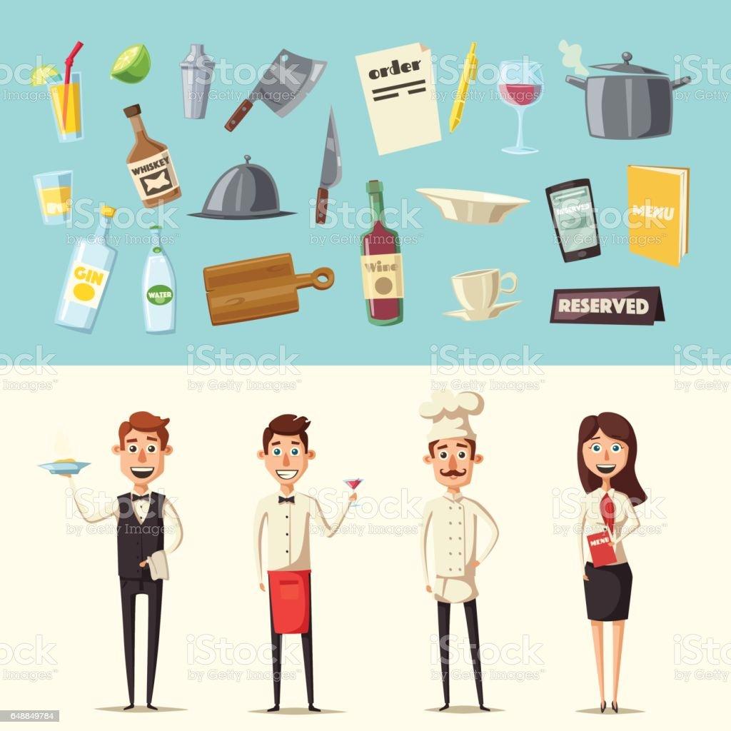 Restaurant team. Cartoon vector illustration. vector art illustration