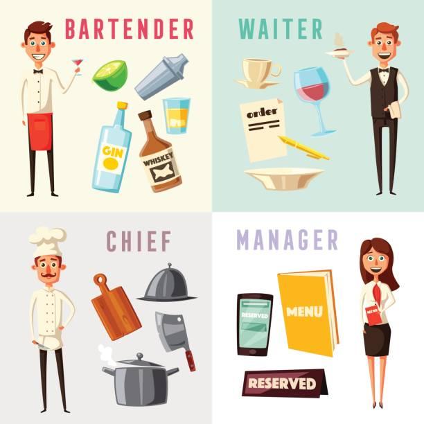 illustrazioni stock, clip art, cartoni animati e icone di tendenza di restaurant team. cartoon vector illustration. - organizzatore della festa