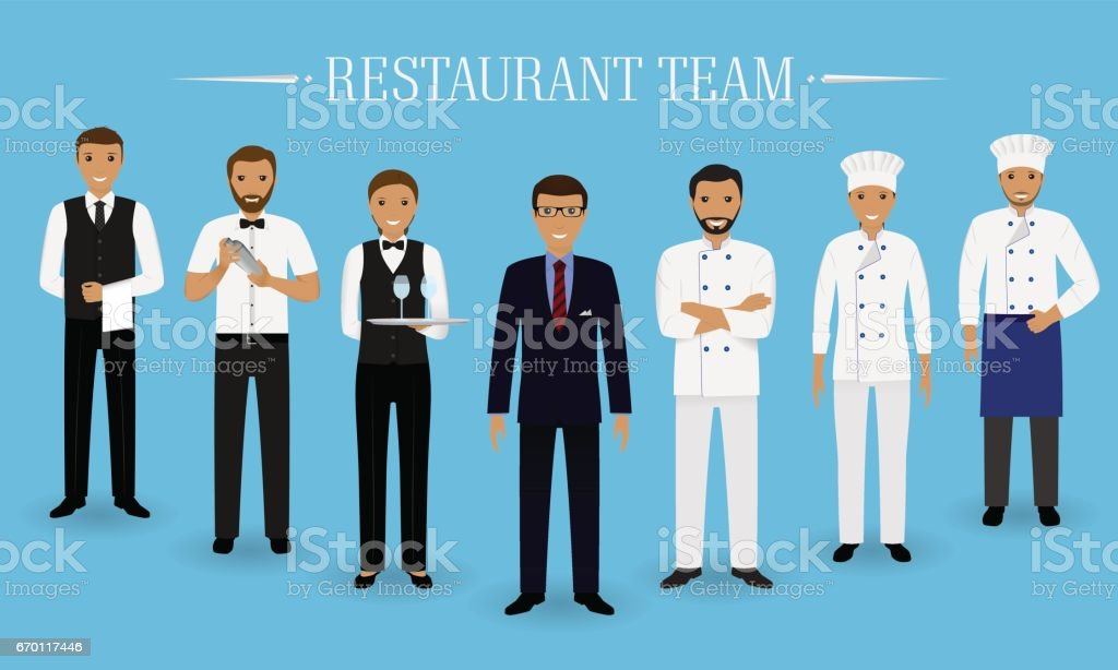 Restaurant team concept. Group of characters standing together: manager, chef, cook, two waiters and barman in uniform. vector art illustration