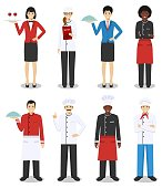 Detailed illustration of head chef, man and woman cooks, sommelier and waitress standing in different positions in flat style isolated on white background. Flat design people characters.