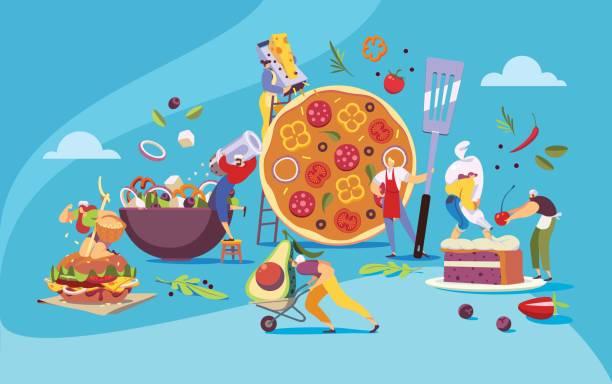 ilustraciones, imágenes clip art, dibujos animados e iconos de stock de restaurante equipo de cocina comida, concepto de menú de cafetería pizzería, vector - busy restaurant kitchen