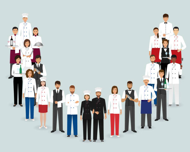 restaurant-team. gruppe, koch, köche, kellner, barkeeper zusammenstehen. food-service-personal. - gastronomiebetrieb stock-grafiken, -clipart, -cartoons und -symbole