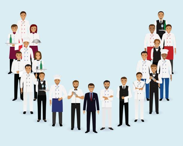 Restaurant Team Group Of Manager Chef Waiters Bartenders Standing Together Vector Art Illustration Hotel Staff