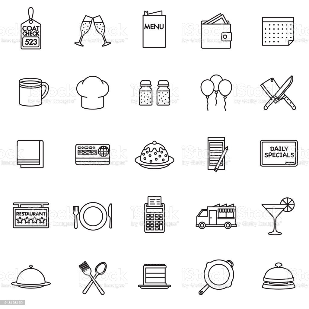 Restaurant Thin Line Icon Set