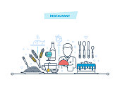 Restaurant thin line icons, pictogram. Employees of restaurant, food, drinks, ingredients for cooking, transportation, food delivery. Illustration thin line design of vector doodles.