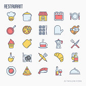 Restaurant thin line icons set: chef, kitchenware, food, beverages for menu or print media. Modern vector illustration.