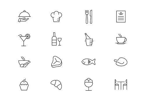Restaurant thin line vector icons. Editable stroke